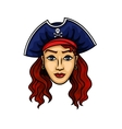 Cartoon pirate woman in hat with Jolly Roger vector image vector image