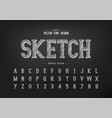 Chalk font and sketch alphabet hand draw writing