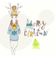 Christmas Background And Greeting Card With Deer vector image vector image