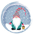 christmas card with funny gnome vector image vector image
