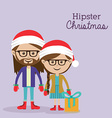 Christmas design over purple background vector image vector image