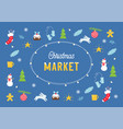christmas holiday market or fair poster with vector image