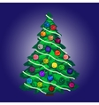 Christmas tree with balls and garland blue vector image vector image