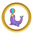 Circus seal with a ball icon cartoon style vector image vector image