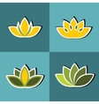 Color flat flowers with white stroke on blue vector image vector image