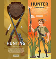 colorful hunting vertical banners vector image