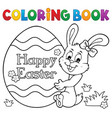 coloring book easter egg and bunny 1 vector image vector image