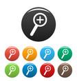 cursor magnifier plus icons set color vector image vector image
