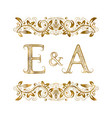 e and a vintage initials logo symbol vector image vector image