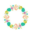 easter wreath of flowers colored eggs and rabbits vector image vector image