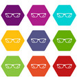 eye glasses icon set color hexahedron vector image vector image
