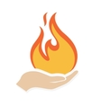 Fire in hand logo or icon vector image