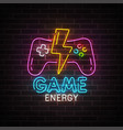 game neon sign bright signboard light banner vector image vector image