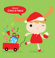 girl love merry christmas cute cartoon vector image