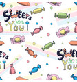 hand drawn lettering on candy seamless pattern vector image