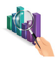 hand holding a magnifying glass diagram chart vector image