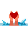 hands holding heart charity and donation concept vector image