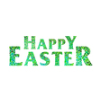 Happy Easter lettering green vector image vector image