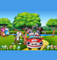 happy easter rabbit riding a car on the beautiful vector image
