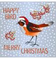 happy small bird black redstart santa vector image vector image