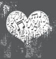 heart grunge with music inside vector image vector image