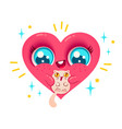 heart with cat in kawaii style vector image