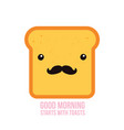 hipster toast bread funny cartoon character with vector image
