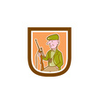 Hunter Holding Rifle Shield Cartoon vector image