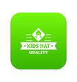 kid hat icon green vector image vector image