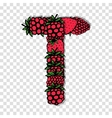 Letter T made from red berries sketch for your vector image vector image