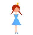 little girl on white background vector image vector image