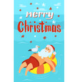 merry christmas santa claus on life buoy seagull vector image vector image