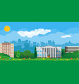 modern city view cityscape and park vector image vector image