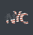 nyc letters in colors us flag in grunge style vector image vector image