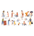 people collect trash men women and kids vector image vector image