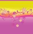 pink and yellow background with flowers vector image vector image