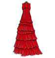 red long evening dress with frills on a white vector image