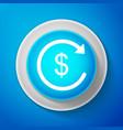 refund money icon isolated on blue background