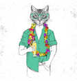 retro hipster animal cat with tropic cocktail vector image vector image