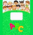 school notebook with cute funny kids vector image vector image