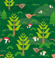 Seamless green background with fir trees mushrooms vector image vector image