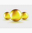 set 3 liquid gel gold round oil bubble vector image