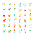 set flat icons coctails vector image