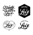 set of made with love hand written lettering label vector image vector image