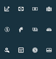 set of simple currency icons vector image vector image