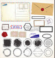 set post stamp symbols vector image vector image