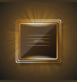 shining rectangle banner with thin golden frame vector image