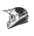 skull in motorcycle helmet sketch engraving vector image vector image