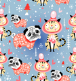 texture in love cats and pugs winter vector image vector image