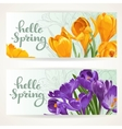 Two horizontal banners Hello spring with yellow vector image vector image